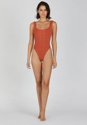 Square Neck Swim Metallic Rust