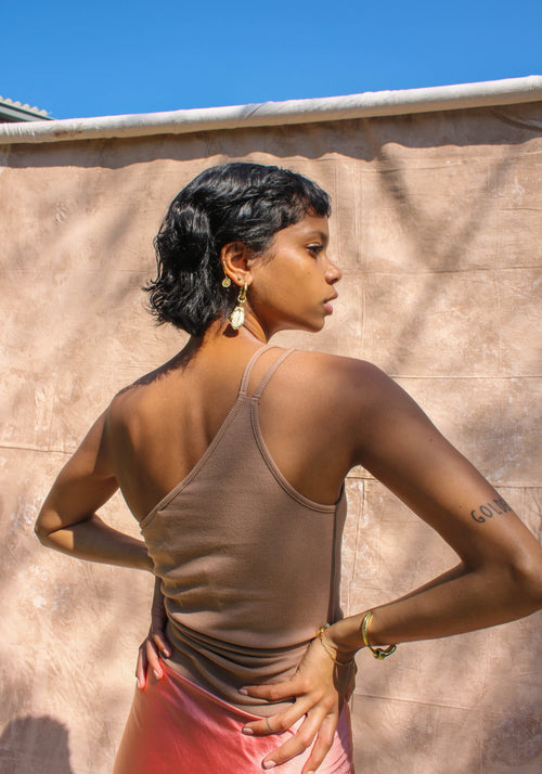 Iris One Shoulder Ribbed Singlet Chocolate