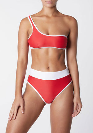 Asymmetric Duo Crop Red/White