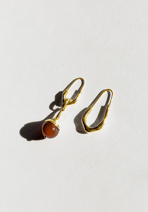 Lulu Earrings Carnelian Gold