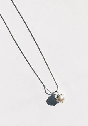 Pearl Drop Necklace Silver