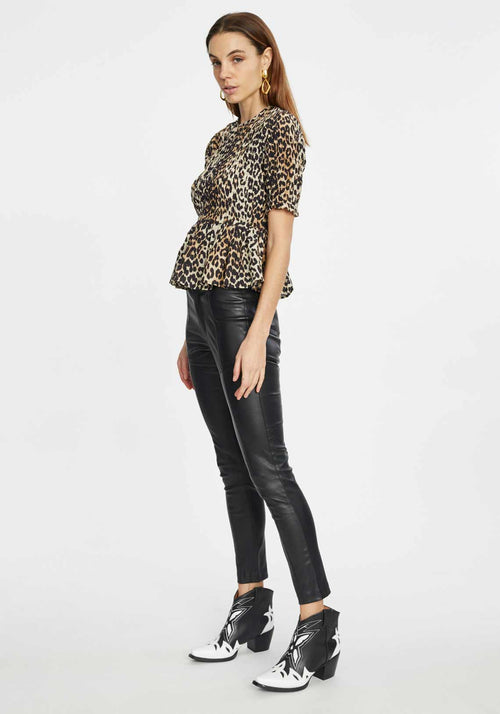 Leopard Shirred Top