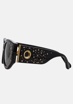 DEBBIE D-FRAME SUNGLASSES IN BLACK