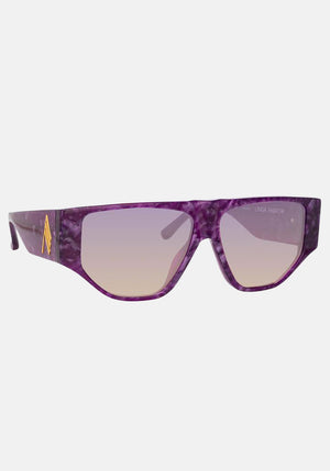 The Attico Ivan Angular Sunglasses Purple Pearl