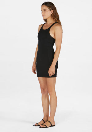 Ribbed Skinny Racer Dress Black