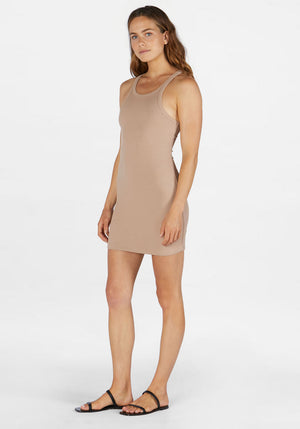 Ribbed Skinny Racer Dress Nude