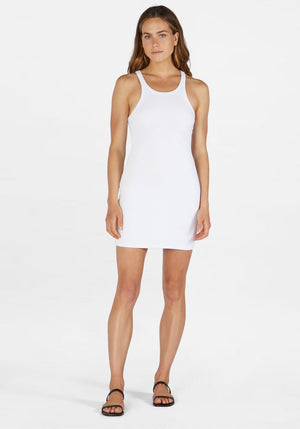 Ribbed Skinny Racer Dress White