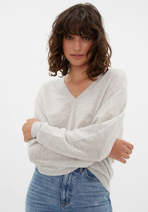 Hakueru V-Neck Sweater Light Grey Melange