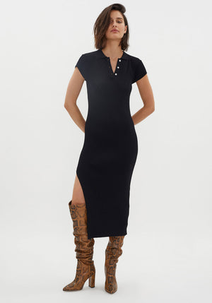 MVP Knit Polo Dress Black