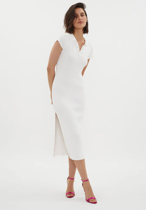 MVP Knit Polo Dress White