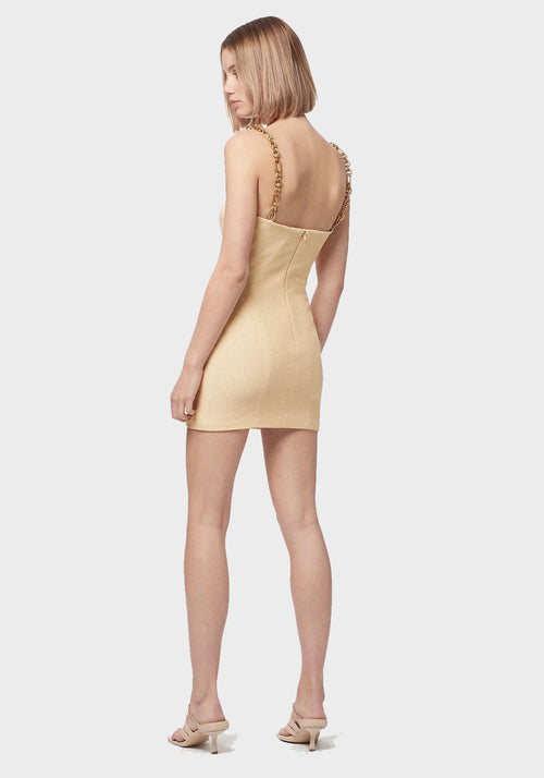 Neo Classic Mini Dress With Chain Almond