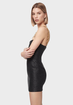 Neo Classic Mini Dress With Chain Black