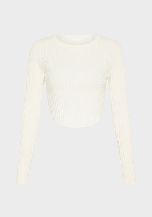Mastermind Ribbed Long Sleeve Top Ivory