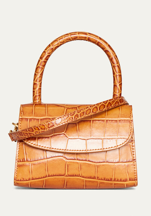 Mini Croc Embossed Bag Tan