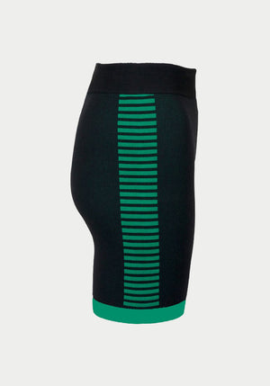 Bodhi Side Stripe Biker Short Black/Tropic Green