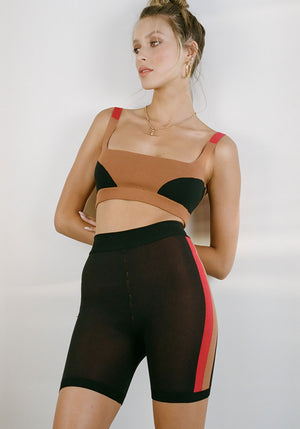 Colour Block Bralet Bronze Black Red