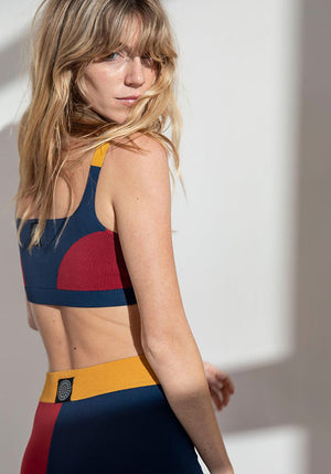Colourblock Bralet Navy/Rogue/Tumeric