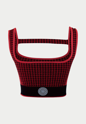 Houndstooth T Bar Crop Red/Black