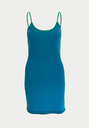 Retro Side Stripe Dress Teal/Tropic Green
