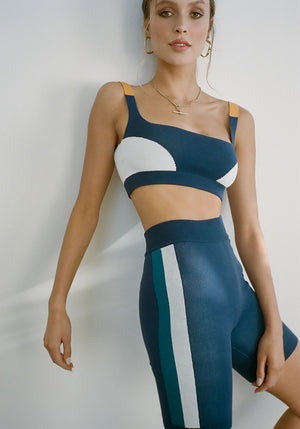Colour Block Bralet Navy Cream Tumeric