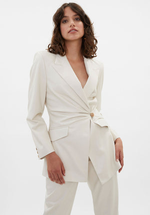 Blair Vegan Leather Fitted Blazer Off-White