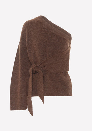Cleto One Shoulder Knit Brown