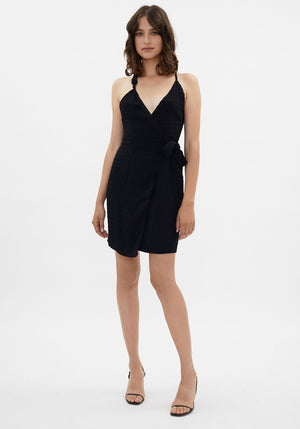 Deja Asymmetric Wrap Dress Black