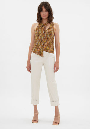 Kami Twist Neck Wrap Top Paisley