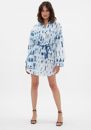 Keiko Oversized Shirt Dress Bio Indigo