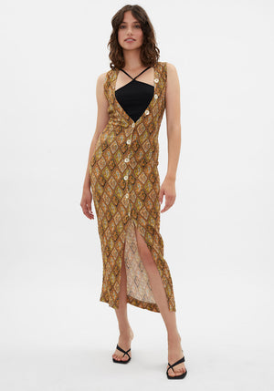 Tia Bodycon Maxi Dress Paisley
