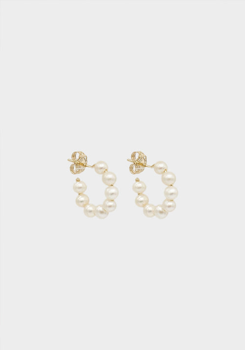 Pearl Hoops Yellow Gold