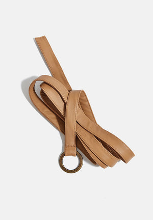 Leather Wrap O-Ring Belt Tan
