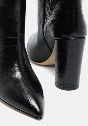 Croc Effect Knee High Boots Nero