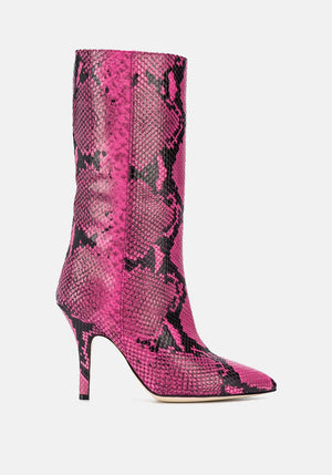 Snake Effect Stiletto Boots Fuchsia