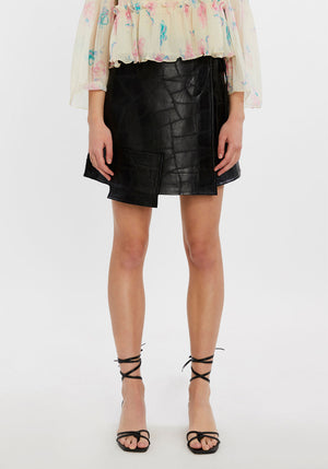 Patch Leather Skirt