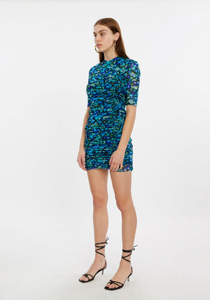 Printed Mesh Gathered Dress
