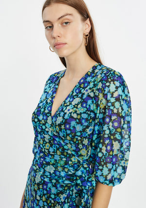 Printed Mesh Wrap Top