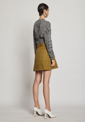 Washed Cotton Belted Skirt Moss