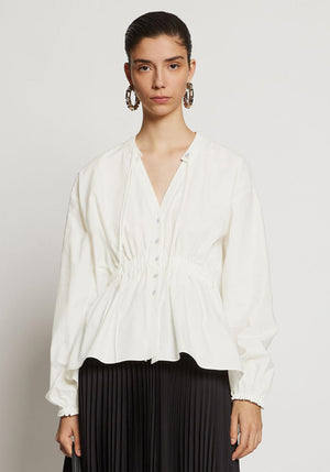 Cotton Shirting Blouse Off White