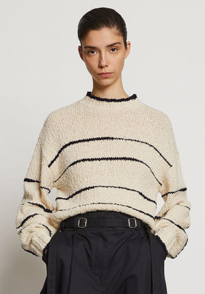 Irregular Stripe Sweater Cream/Black