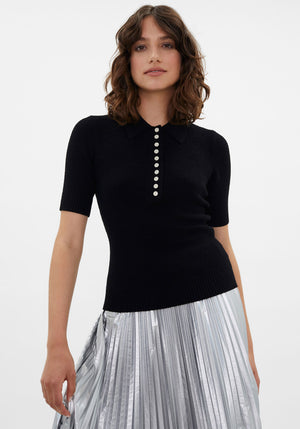 Boucle Polo Knit Top Black
