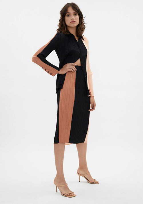 Colourblock Plisse Slip Skirt Cinnamon/Peach/Black