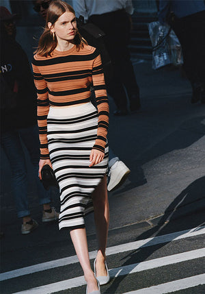 Compact Stripe Skirt Black/Off White