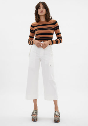Cotton Belted Cargo Pants Off White
