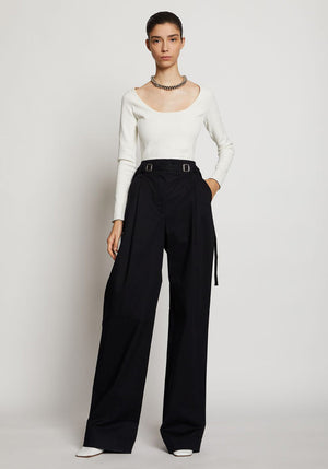 Cotton Twill Belted Pant Black