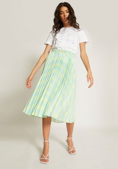 Diffused Gingham Pleated Skirt Shadowlime