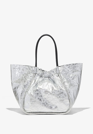 Metallic Ruched XL Tote Silver