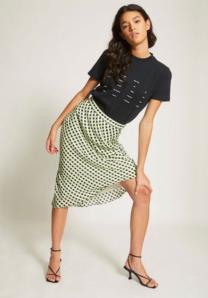 Multicolour Gingham Georgette Slip Skirt Optic White