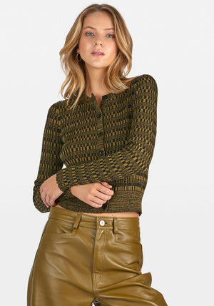 MINI GEO RIB CROPPED CARDIGAN SWEATER