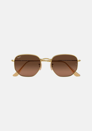 Hexagonal Sunglasses Brown Gradient